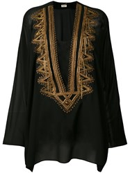 Saint Laurent Embroidered Kaftan Women Silk 42 Black
