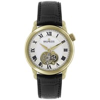 Dreyfuss And Co Dgs00092 01 Men's Seafarer Automatic Skeleton Detail Leather Strap Watch Black White