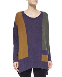 Loro Piana Cashmere Colorblock Knit Poncho Sweater