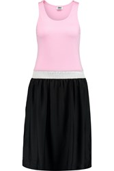 Sonia Rykiel Color Block Jersey And Satin Dress Pink