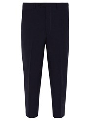 Prada Cropped Tailored Wool Trousers Navy
