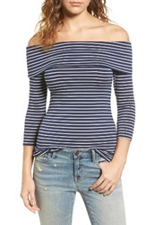 Hinge Women's Off The Shoulder Stretch Jersey Top Navy White Stripe