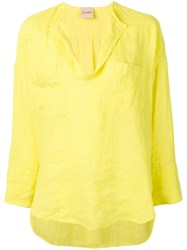 Nude Chest Pocket Blouse Yellow