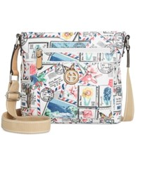 Giani Bernini Postcard Print Canvas Crossbody Only At Macy's White Multi