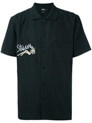 Stussy Embroidered Patch Top Men Polyester Rayon L Black