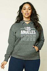 Forever 21 Plus Size Los Angeles Hoodie Charcoal Cream