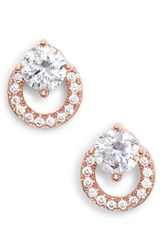 Nordstrom Open Circle Solitaire Stud Earrings Clear Rose Gold
