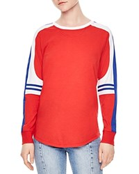 Sandro Story Color Block Tee Red