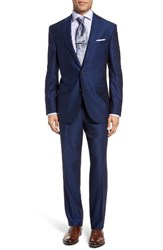 David Donahue Men's Big And Tall Ryan Classic Fit Solid Wool Suit Medium Blue