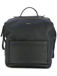 Furla Patch Pocket Backpack Women Leather Nylon Viscose One Size Black