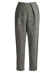 Balenciaga High Waisted Tapered Leg Hound's Tooth Trousers Grey