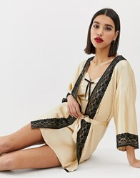 Prettylittlething Valentines Kimono Robe With Lace Trim In Cream