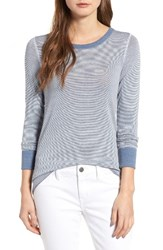 Treasure And Bond Women's Old School Thermal Tee Blue Moonlight Mini Stripe