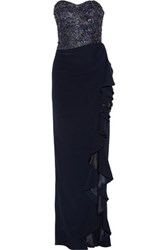Badgley Mischka Ruffled Embellished Crepe Gown Midnight Blue