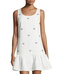 Soloiste Jeweled Dropped Waist Sleeveless Dress White