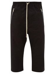 Rick Owens Cropped Cotton Blend Trousers Black