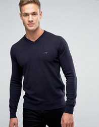 Armani Jeans Jumper With V Neck And Logo In Navy Navy