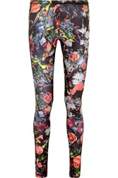 Mcq By Alexander Mcqueen Floral Print Stretch Jersey Leggings Black