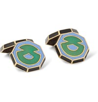 Foundwell Vintage 1920S Art Deco 18 Karat Gold And Vitreous Enamel Cufflinks Green