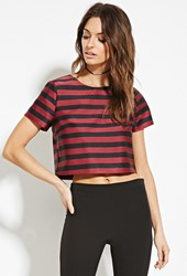 Forever 21 Contemporary Boxy Sheeny Stripe Top Wine Black