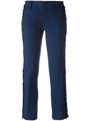 Tory Burch Frayed Laterals Cropped Trousers Blue