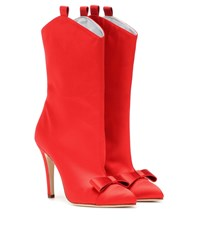 Alessandra Rich Satin Ankle Boots Red