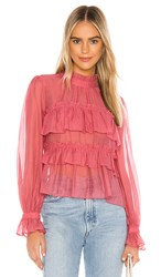 Line And Dot Floresta Ruffle Tier Top In Red. Ruby