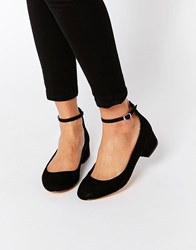 Blink Ankle Strap Low Heeled Ballerina Shoes Black