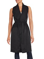 Minkpink Oversized Collar Sleeveless Trench Black
