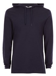 Topman Blue Navy Jersey Classic Fit Hoodie