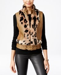 Xoxo Juniors' Faux Fur Trim Moto Vest Leopard Multi