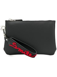 Gum Smile Zipped Wristlet Clutch Black