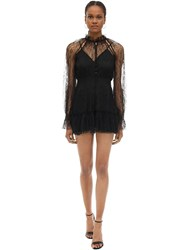 Alice Mccall Ruffled Lace Mini Dress Black