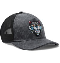 Gucci Angry Cat Appliqued Coated Canvas And Mesh Baseball Cap Charcoal