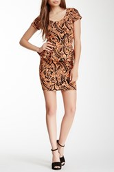 Voom By Joy Han Short Sleeve Print Peplum Dress Metallic