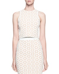 Alexander Mcqueen Embossed Sleeveless Racer Top Flesh White