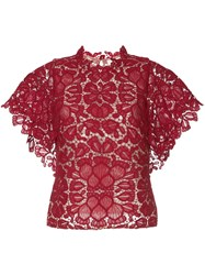 Ginger And Smart Shortsleeved Floral Lace Top Red