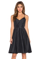 Halston Taffeta Mini Dress Black