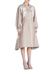 Fendi Leather Accented Cotton Trenchcoat Taupe