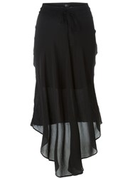Lost And Found Sheer Asymmetric Skirt Black