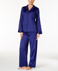 Miss Elaine Jacquard Dot Brushed Back Satin Pajama Set Sapphire