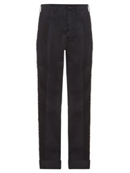 Mafalda Von Hessen Embellished Stripe Wide Leg Cotton Blend Trousers Navy