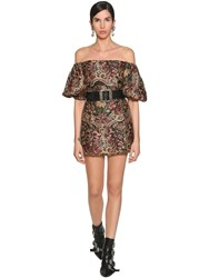 Etro Off Shoulder Viscose Brocade Mini Dress Multicolor