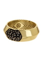 House Of Harlow Pave Hematite Inset Ring Size 6 Metallic