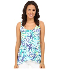 Lilly Pulitzer Monterey Tank Top Pool Blue Stay Cool Women's Sleeveless