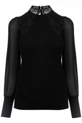 Oasis Lace And Sheer Knit Black