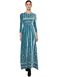 Luisa Beccaria Long Embroidered Velvet Dress Blue