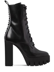 Dsquared 130Mm Logo Brushed Leather Boots Black