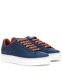Etro Embossed Leather Sneakers Blue