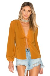 By The Way. Meia Deep V Blouse Mustard